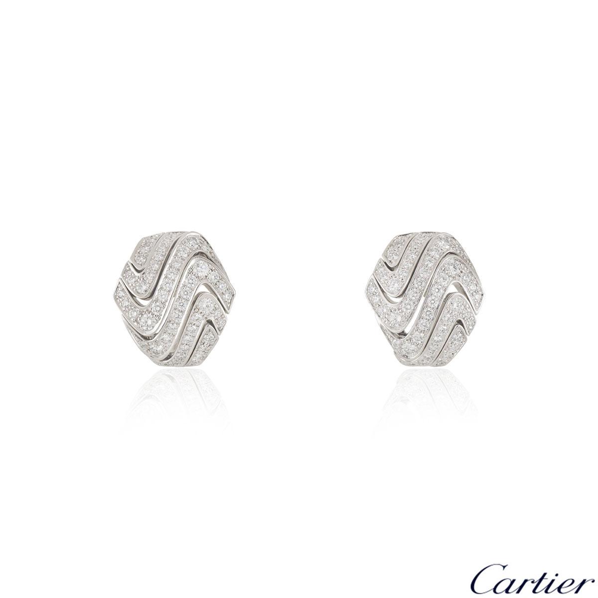 Cartier White Gold Diamond Earrings 1.74ct F+/VS+